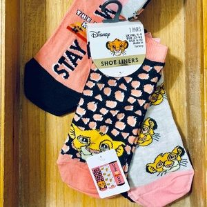 Disney Lion King Shoe Liner Socks 3 Pair